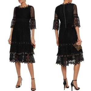 MAJE Roso Black Eyelet Embellished Lace Dress